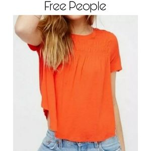 Free People Dani Swing Tee Orange Size Small